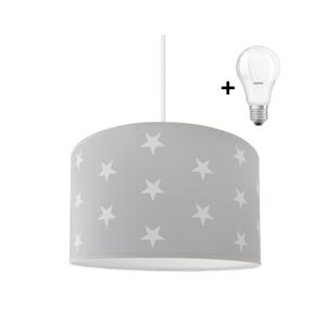 Lampdar LED Detský luster STARS GREY 1xE27/9W/230V
