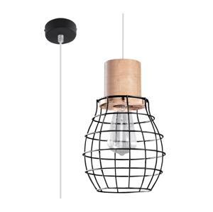 Sollux Luster na lanku RIDA 1xE27/60W/230V čierna/prírodné drevo